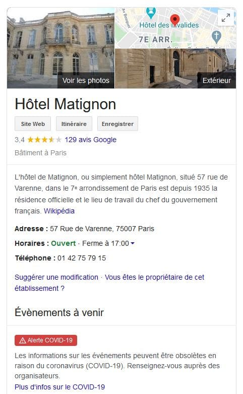 Exemple de fiche établissement sur Google My Business : Matignon